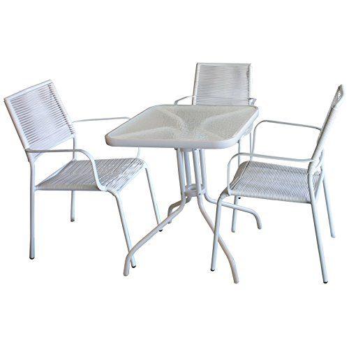 4tlg. Bistrogarnitur Glastisch 60x60cm + 3x Spaghettistuhl mit Armlehne stapelbar, Metallgestell beschichtet mit PVC-Bespannung, Weiß/Weiß