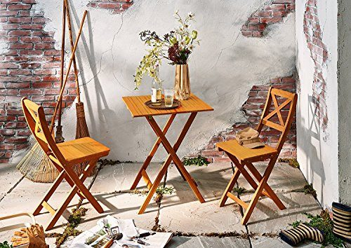 SAM® Gartengruppe natur, 3tlg., Balkongruppe aus Akazienholz, 1 x Tisch + 2 x Stuhl, geölt, Garten-Tischgruppe, Sitzgruppe aus Akazien-Holz