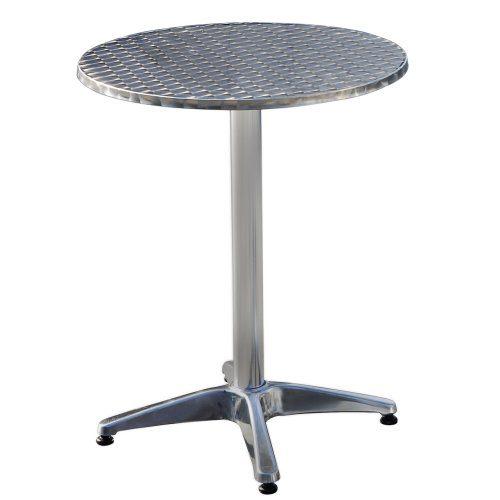 Jago Bistrotisch mit Klappfunktion aus Aluminium mit Edelstahlplatte -höhenverstellbar- ca. 74 oder 114 cm, Ø 60cm