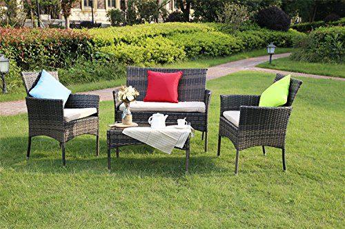 Yakoe Eton Range Outdoor 4-Teilig Polyrattan Sitzgruppe Gartenmöbel Bistro Set, Braun, 106x59x84 cm