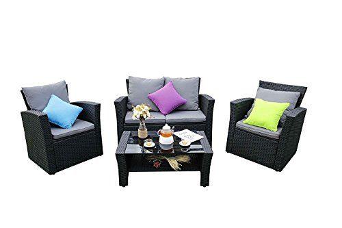 Yakoe Eton Range Outdoor 4-Teilig Polyrattan Sitzgarnitur Gartenmöbel Sitzgruppe Balkon Set, Schwarz, 128x72x78 cm