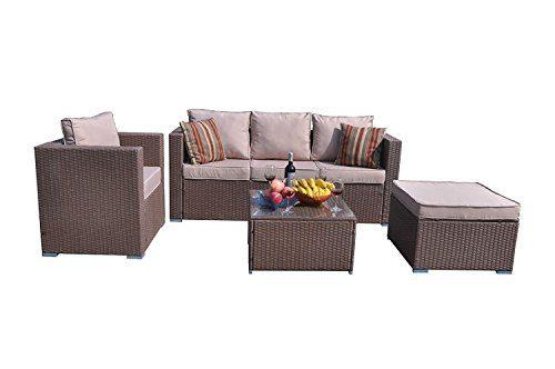Yakoe Klassische Serie Outdoor 4-Teilig Polyrattan Lounge Ecksofa Sitzgruppe Gartenmöbel Sitzgarnitur, Braun, 182x65x71 cm