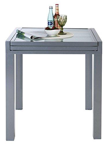 Ausziehtisch Gartentisch Terrassentisch GESA   BxHxT 70x75x70 cm   Silberfarben   Aluminium   Glas   Ausziehbar