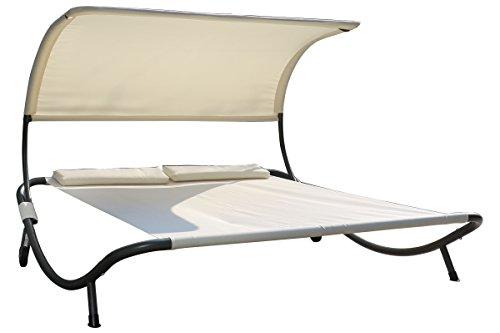 OUTFLEXX exklusive Doppelliege in weiß und silber, Sonnenliege, 2er Liegebank aus solidem Stahl, 210 x 200 x 151 cm, Liegefläche aus hochwertigem Polyester, inkl. Nackenkissen, rollbar, wetterfest