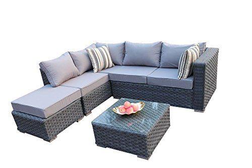 Yakoe Papaver Serie Outdoor 5 Sitzer Polyrattan Lounge Ecksofa Sitzgruppe Gartenmöbel Sitzgarnitur, Grau, 144x80x68 cm