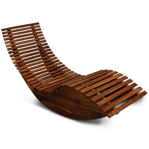 Schwungliege | FSC®-zertifiziertes Akazienholz | Ergonomisch | Vormontierte Latten | Wippfunktion | Gartenliege Sonnenliege Relaxliege Saunaliege