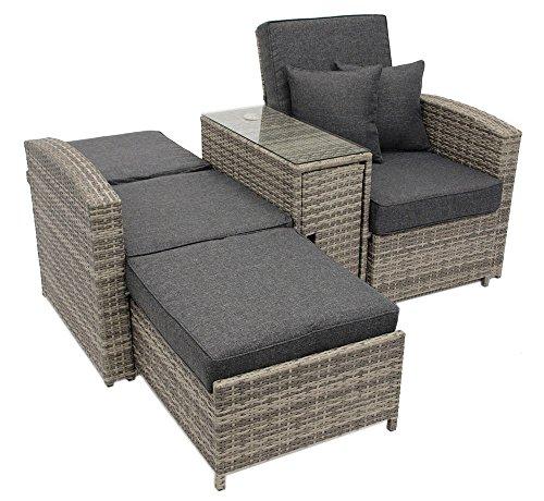 Doppelliege aus Rattan in Grau, Terrassenliege ist klappbar und hat Stauram, Gartenliege hat ausziehbaren Fußteil und bietet pure Erholung