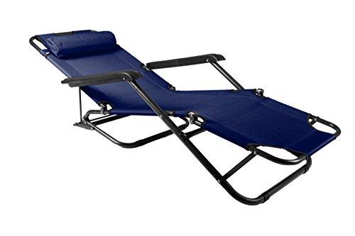 Nexos klappbare Sonnenliege Relaxliege Liegestuhl Klappliege Stahl (Blau)