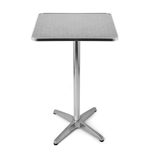 Park Alley Bistro-/Steh eckig tisch , höhenverstellbarer, Aluminium, geeignet als Garten, Terrassen und Balkon Tisch, Höhenverstellbar 70 oder 110 cm, silber, 60 x 60cm