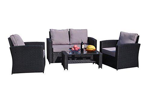 Yakoe Klassische Serie Outdoor 4-Teilig Polyrattan Sitzgarnitur Gartenmöbel Sitzgruppe Balkon Set, Schwarz, 128x72x78 cm