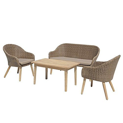 Gartenmöbelset Sitzgruppe Pueblo, 4 tlg. mit Kaffeetisch