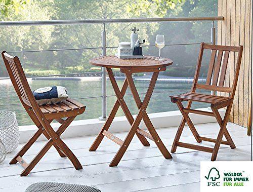 SAM® Gartengruppe Blossom Round, 3tlg., Balkongruppe aus Akazienholz, FSC® 100% zertifiziert, 1 x Tisch + 2 x Stuhl, geölt, Garten-Tischgruppe, Sitzgruppe aus Akazien-Holz