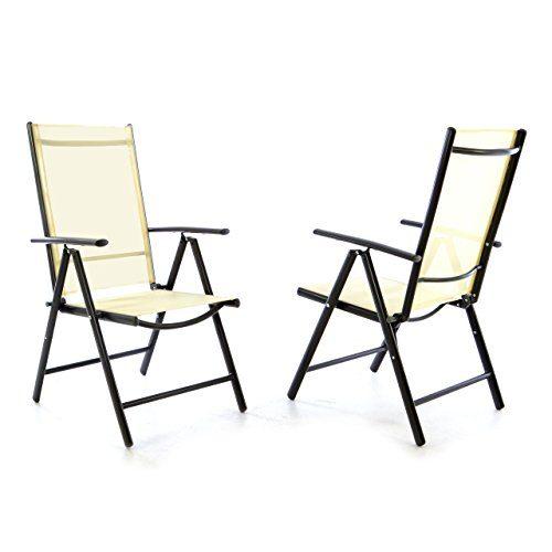 2er Set Klappstuhl Klappsessel Gartenstuhl Campingstuhl Liegestuhl – Sitzmöbel – klappbarer Stuhl aus Aluminium & Kunststoff - creme (Textilene) / anthrazit (Rahmen)