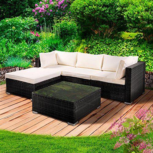 "Poly Rattan Lounge Set ""Royal"" Schwarz Gartenmöbel Sitzgruppe Garten Garnitur Essgruppe Tisch Sessel Sofa"