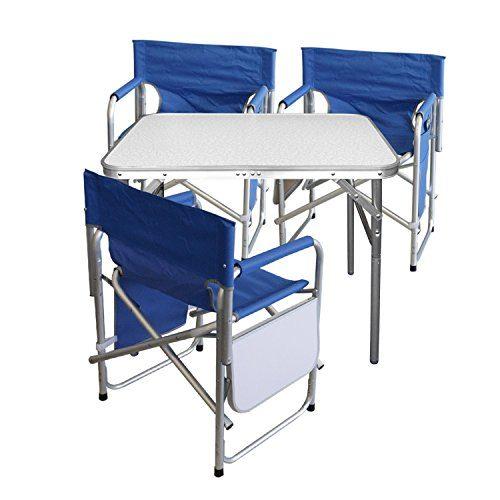 4tlg. Campingmöbel Set Gartengarnitur Campingtisch Alu Klapptisch 75x55x60cm + 3x Alu Campingstühle Klappstuhl Anglerstuhl mit Ablage und Organizer Blau
