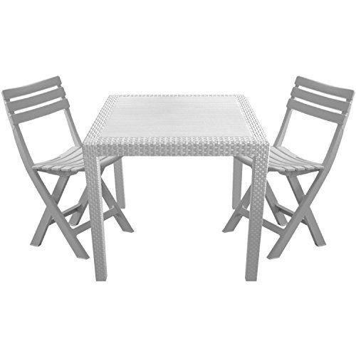 3tlg. Balkonmöbel Set Vollkunststoff Rattan-Optik Gartentisch 79x79cm 2x klappbare Gartenstühle Klappstühle Sitzgarnitur Sitzgruppe