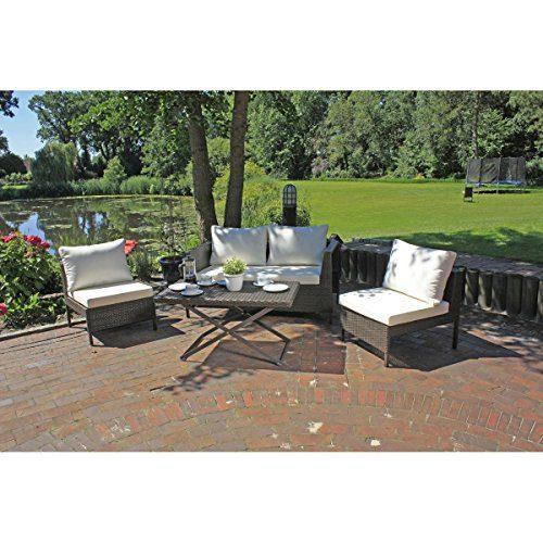 4tlg. Garten Lounge Gruppe Sitzgruppe Sofa Tisch Sessel Möbel Rattan Optik coffee