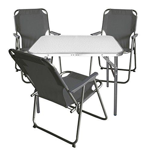 4tlg. Campingmöbel Set Klapptisch, Aluminium, 55x75cm + 3x Campingstuhl, stone / Strandmöbel Campinggarnitur Gartenmöbel