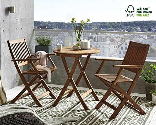 SAM 3-tlg. Gartengruppe Skanderborg, Akazienholz geölt, 1 Tisch + 2 Stühle Slagelse, klappbar, FSC zertifiziert