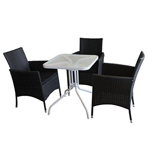 4tlg. Campingmöbel-Set Glastisch mit geriffelter Tischglasplatte Metallgestell weiß 60x60cm + 3x stapelbare Gartensessel mit Sitzkissen Rattanbespannung in schwarz - Gartenmöbel Campingmöbel Gartengarnitur Stapelstuhl Gartensessel