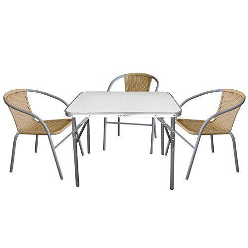 4tlg. Campingmöbel-Set Klapptisch, Aluminiumgestell, Kunststoffplatte Marmor-Look, 75x55x60cm + 3x Bistrostuhl, stapelbar, Polyrattanbespannung Beige, Stahlrohrgestell pulverbeschichtet Grau