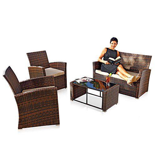 Melko® PolyRattan Sitzgruppe 4 tlg. Braun, Gartenmöbel Lounge Sitzgarnitur Essgruppe, wetterfestes Polyrattan, inklusive 6 cm Sitzauflagen
