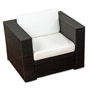 (1er) Polyrattan Lounge Möbel Sessel schwarz - Gartenmöbel (1er) Polyrattan Lounge Sessel, (1er) Polyrattan Lounge Sofa, (1er) Polyrattan Lounge Stuhl - durch andere Polyrattan Lounge Gartenmöbel Elemente erweiterbar