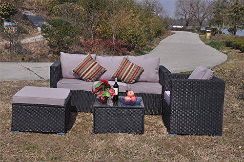 Yakoe Klassische Serie Outdoor 4-Teilig Polyrattan Lounge Ecksofa Sitzgruppe Gartenmöbel Sitzgarnitur, Schwarz, 182x65x71 cm
