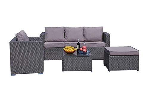 Yakoe Klassische Serie Outdoor 4-Teilig Polyrattan Lounge Ecksofa Sitzgruppe Gartenmöbel Sitzgarnitur, Grau, 182x65x71 cm