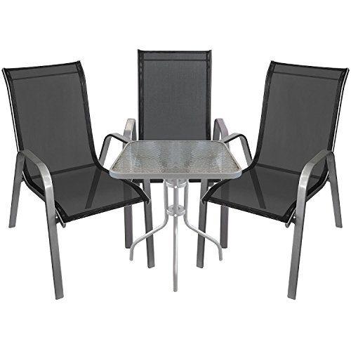 4tlg. Bistro-Set Sitzgruppe Balkonmöbel Sitzgarnitur Metall Glastisch Bistrotisch 60x60cm Silber + Metall Stapelstühle Textilenbespannung Silber/Schwarz