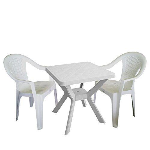 3tlg. Gartengarnitur Bistrogarnitur Balkonmöbel Set Sitzgarnitur 70x70cm Vollkunststoff Terrassenmöbel Stapelstuhl Weiß