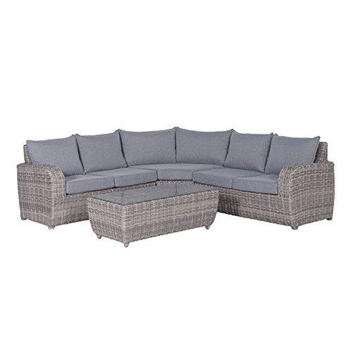Gartenlounge OUTLIV. Buffalo Loungeset 4-tlg Geflecht Organic-Grey/Anthrazit Sitzbank Garten