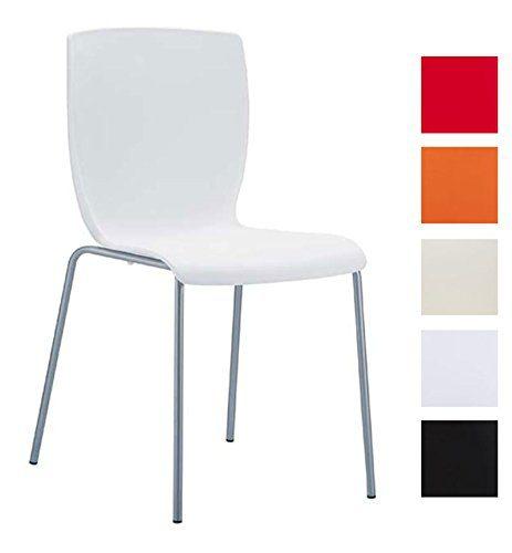 CLP Aluminium Garten-Stuhl MIO, Kunststoff Sitz, XXL 160 kg max. Belastbarkeit, Balkonstuhl Bistrostuhl stapelbar Weiß