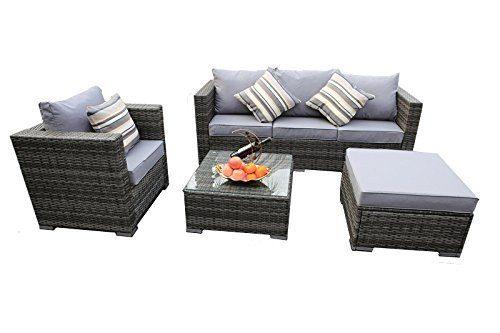 Yakoe Papaver Serie Outdoor 4-Teilig Polyrattan Lounge Ecksofa Sitzgruppe Gartenmöbel Sitzgarnitur, Grau, 182x65x71 cm