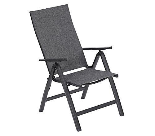 Dehner Gute Wahl Klappstuhl Lyon, ca. 108.5 x 69.5 x 58.5 cm, Aluminium/Textilene, schwarz