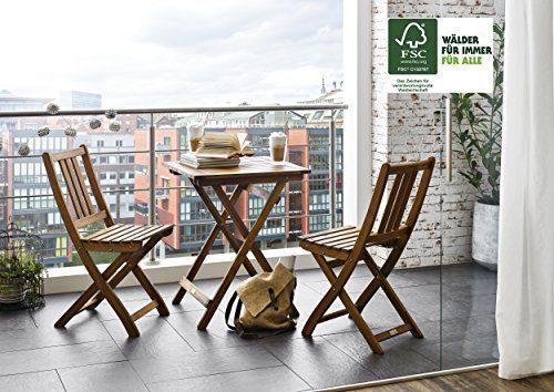 SAM® Gartengruppe, 3tlg., Balkongruppe aus Akazienholz, FSC® 100% zertifiziert, 1 x Tisch + 2 x Stuhl, geölt, Garten-Tischgruppe, schöne Maserung, massives Holz, klappbar, Sitzgruppe aus Akazien-Holz