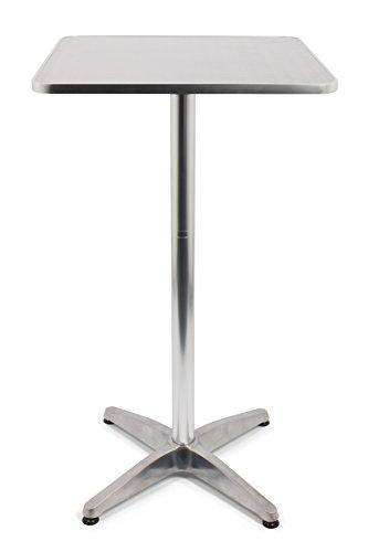 Vanage Stehtisch Bistrotisch, Aluminiumtisch ist höhenverstellbar, eckig, silber, Maße: 60 x 70 x 110 cm