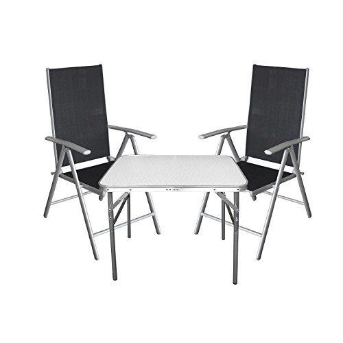 3tlg. Campingmöbel Balkonmöbel Gartenmöbel Set Sitzgruppe Aluminium Campingtisch Klapptisch + Hochlehner Gartenstuhl mit 7-fach verstellbarer Rückenlehne