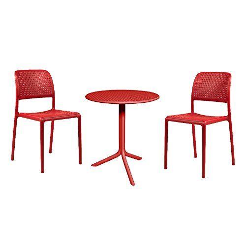 Balkonmöbel Set Nardi Step 3-tlg 2x Stapelstuhl Bora Bistrot + Tisch Spritz Ø60,5 cm Kunststoff Rot Gartenmöbel Bistromöbel wetterfest
