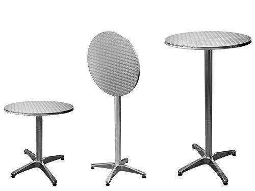 Bistrotisch Stehtisch Bartisch Tisch Alutisch Balkontisch Gartentisch Partytisch - aus Alu - höhenverstellbar - kippbar - Ø ca. 60 cm