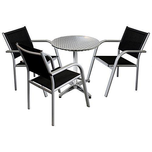4tlg. Gartenmöbel Balkonmöbel Bistro Set Sitzgruppe - Bistro-/Stehtisch, Ø60cm, Tischplatte in Schleifoptik + 3x Gartenstuhl, Aluminium, Textilen, stapelbar / Sitzgarnitur Gartengarnitur Terrassenmöbel
