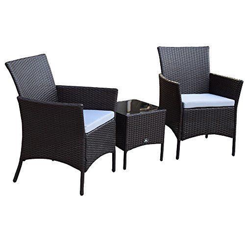 3 Teiliges Polyrattan Gartenmöbelset Tisch Stuhl Balkonmöbel-Set SJ-03 Braun