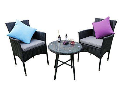 Yakoe Eton Range Outdoor 3-Teilig Polyrattan Bistro Balkon Set Sitzgarnitur Gartenmöbel, Schwarz, 59x59x84 cm
