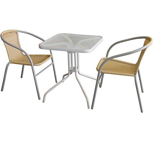 3tlg. Bistrogarnitur Glastisch 60x60cm Weiß + 2x Polyrattan Bistrostühle stapelbar Grau/Beige Gartengarnitur