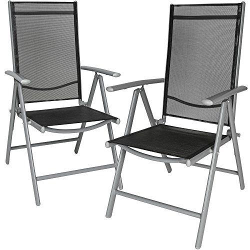 TecTake Aluminium Klappstuhl Gartenstuhl Set verstellbar mit Armlehnen - diverse Farben und Mengen - (Silber | 2er Set | Nr. 401631)