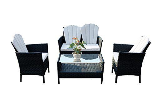 Yakoe Eton Range Outdoor 4-Teilig Polyrattan Bistro Balkon Set Sitzgruppe Gartenmöbel, Schwarz, 102x63x82 cm