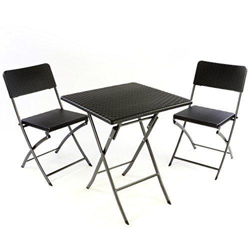 3er Set Garnitur Tischset mit 2 Stühlen 1 Tisch Balkonset in Rattan-Optik schwarz Bistroset klappbar Garten Terrasse Balkon Kunststoff Metallgestell robust wetterfest stabil pflegeleicht