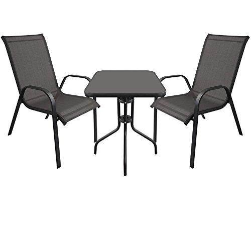 3tlg. Bistrogarnitur Balkonmöbel Gartenmöbel Set Sitzgruppe Gartengarnitur - Bistrotisch, schwarze Tischglasplatte, 60x60cm + 2x Stapelstuhl, Textilenbespannung