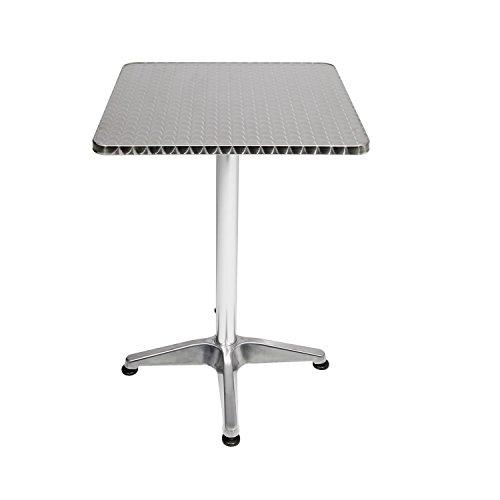 Bistro Stehtisch Terrassentisch 60x60cm H70/110cm Aluminium Balkontisch Gartentisch Bistrotisch Klapptisch höhenverstellbar