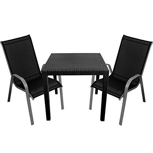 3tlg. Gartenmöbel-Set Kunststoff Gartentisch 79x79cm mit Rattan-Look + 2x Stapelstühle Silber/Schwarz Sitzgarnitur Gartengarnitur Terrassenmöbel